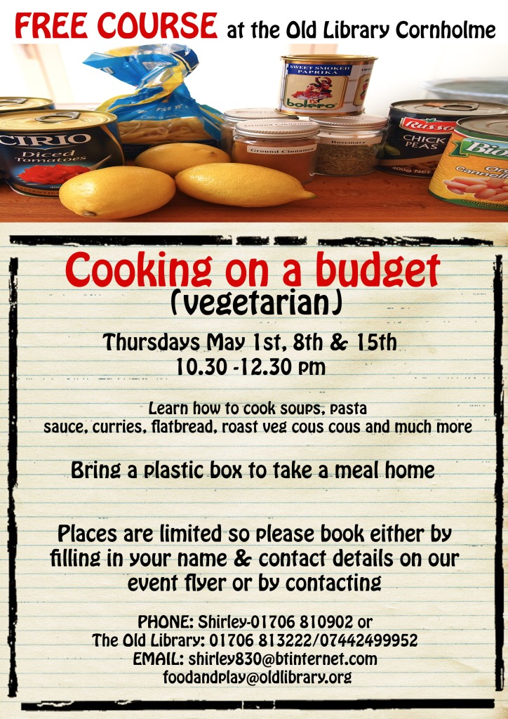 budget cooking course poster new dates